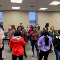 New View members get to know each other during an icebreaker challenge.