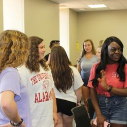 New View members chat with each other during a Fall 2019 meeting.
